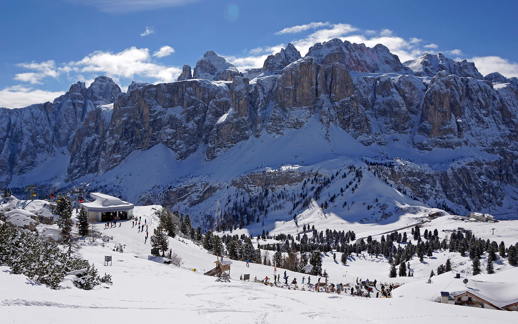 Dolomiti Superski ski slopes on the Passo Gardena