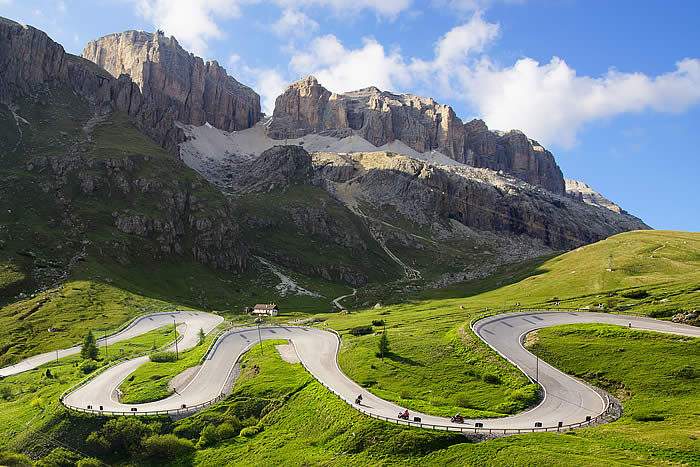 Motorcycling on the passes of the Dolomites